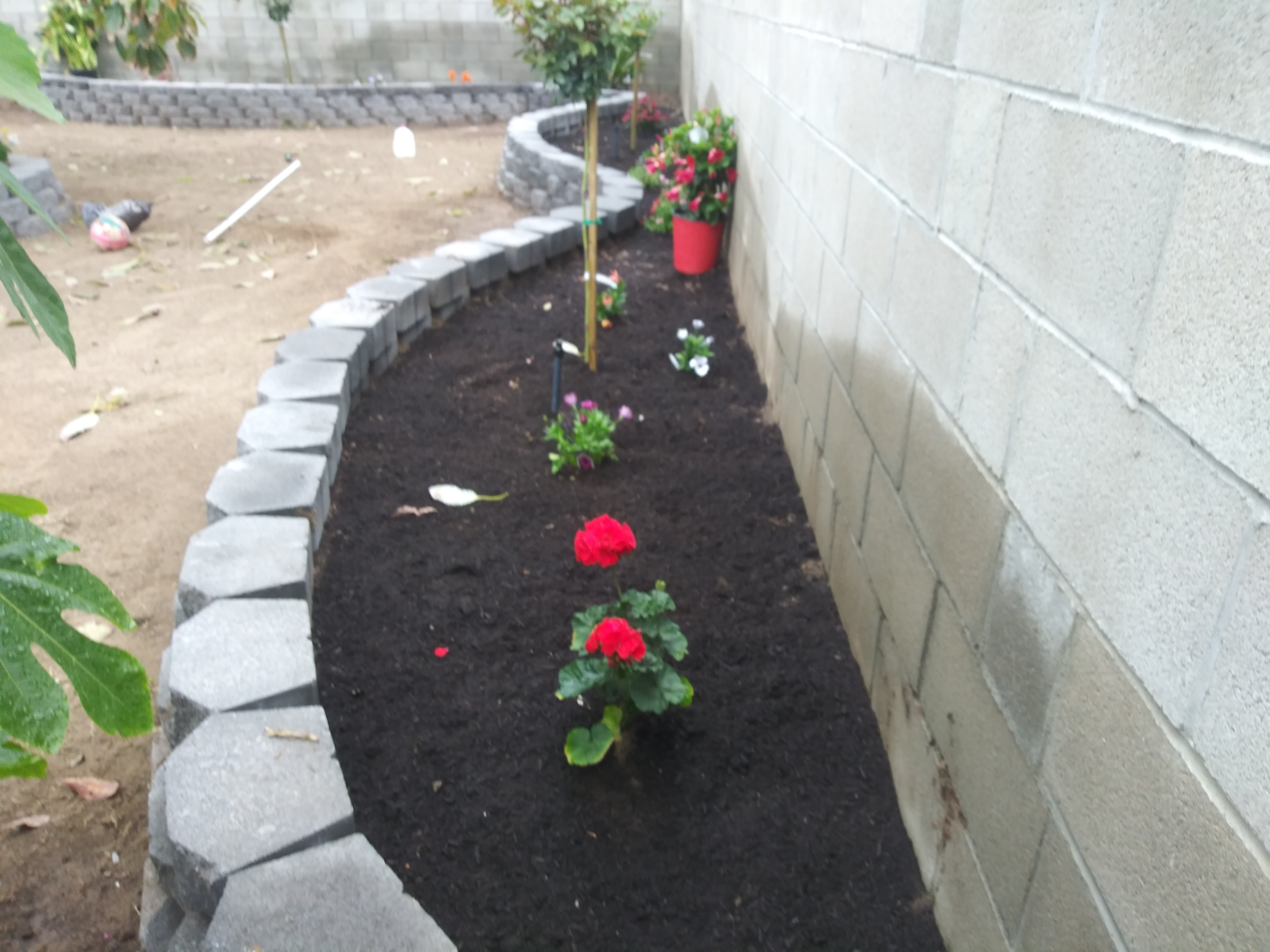 Construction of flower beds.